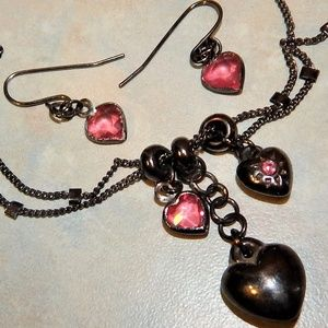Pretty in Pink Hearts Necklace & Earring Set